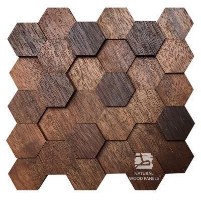 Panel drewniany - Natural Wood Panels - Hexagon 10 merbau 3D