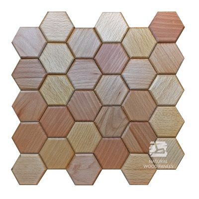 Panel drewniany - Natural Wood Panels - Hexagon series buk