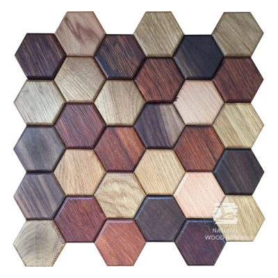 Panel drewniany - Natural Wood Panels - Hexagon series Mix