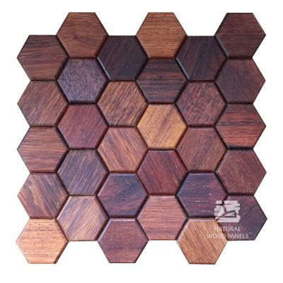 Panel drewniany - Natural Wood Panels - Hexagon series merbau