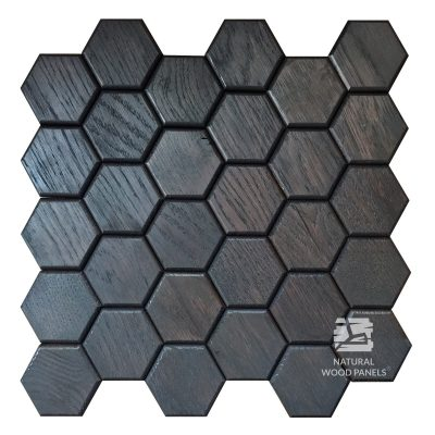 Panel drewniany - Natural Wood Panels - Hexagon series dąb czarny