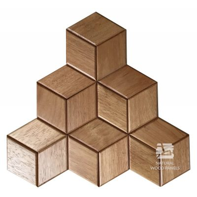 Panel drewniany 3D - Natural Wood Panels - Doussie Hexagon 20