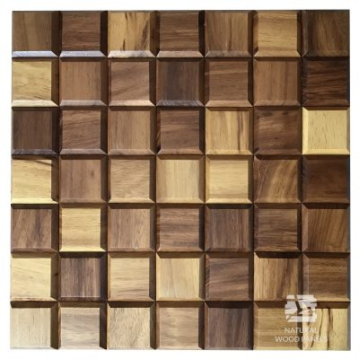 Panel drewniany 3D - Natural Wood Panels - Iroko Choco mini 9