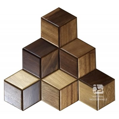 Panel drewniany 3D - Natural Wood Panels - Iroko Hexagon 22