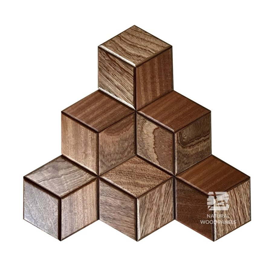 Panel drewniany 3D - Natural Wood Panels - Mahoń Sapeli Hexagon 19