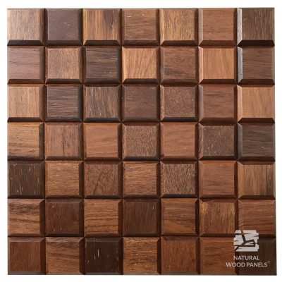 Panel drewniany 3D - Natural Wood Panels - Merbau Choco mini 12