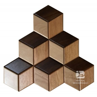 Panel drewniany 3D - Natural Wood Panels - Mix Egzotyczny Hexagon 26