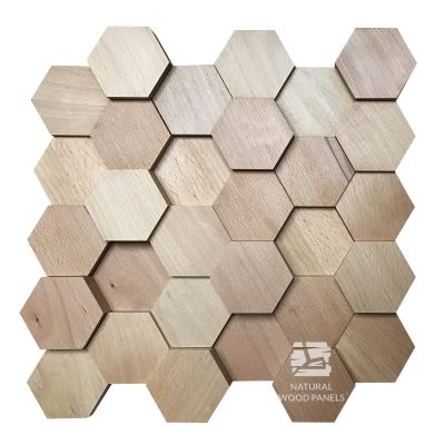 Panel drewniany - Natural Wood Panels - Hexagon 13 Buk 3D