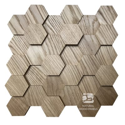 Panel drewniany - Natural Wood Panels - Hexagon 9 Dąb 3D