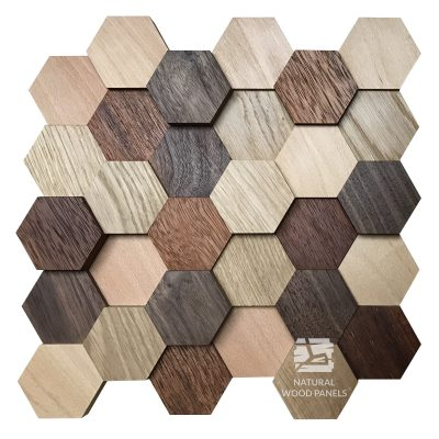Panel drewniany - Natural Wood Panels - Hexagon 11 Mix 3D